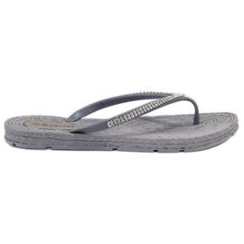 Seastar cinza Flip-flops com zircões