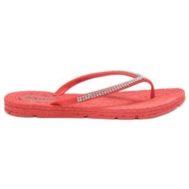 Seastar vermelho Flip-flops com zircões