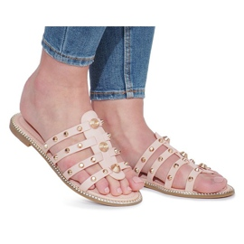 Chinelos rosa com tachas Rabelle bege