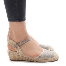 Sandálias de cunha cinza LLI-3M88-7 alpargatas