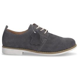 Sapatos de couro com cordões LJ12 Cinza