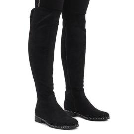 Preto Botas de camurça preta com tachas H305