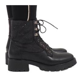 Ideal Shoes preto Botinhas pretas de renda com lantejoulas 1621