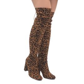 Botas de leopardo no poste sobre o joelho E5116