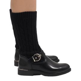 Ideal Shoes preto Botas quentes pretas E-4939