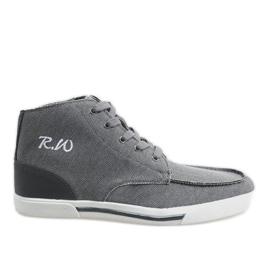 Sapatos altos elegantes cinza F10455