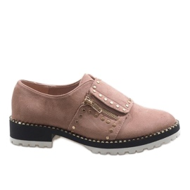 -de-rosa Brogues slip-on rosa com tachas U-6249