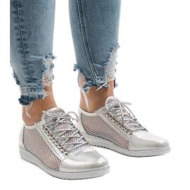 Cinza Sapatos openwork de prata TL44