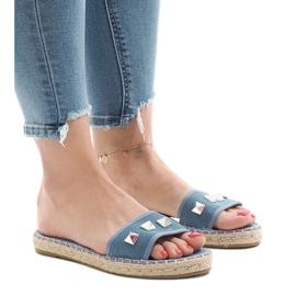 Chinelos jeans com tachas 7087 azul
