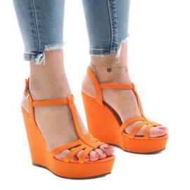 Sandálias de cunha laranja A-8A