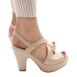 Marrom Bege BL1501 sandálias de salto alto