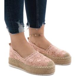 -de-rosa Sapatilhas de tênis rosa na plataforma 7801-P