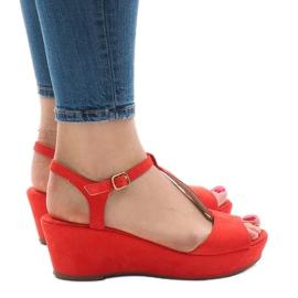 Sandálias de cunha vermelha 6-309 vermelho