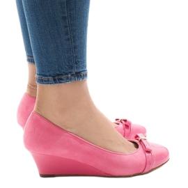 -de-rosa Bombas de camurça rosa em calcanhar de cunha 50987