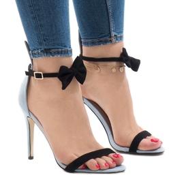 Sandálias de camurça azul de salto alto arco JZ-6334