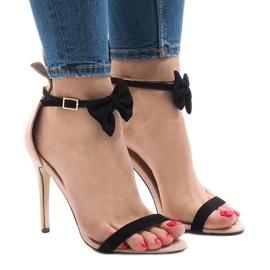 Sandálias de camurça rosa de salto alto proa JZ-6334