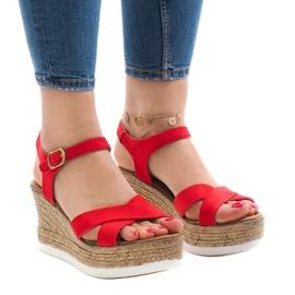 Vermelho Sandálias vermelhas no calcanhar de cunha XL104