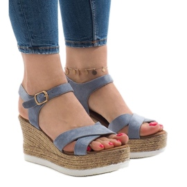 Azul Sandálias azuis no calcanhar de cunha XL104