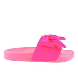 Chinelos cor-de-rosa com laço de néon MU-6