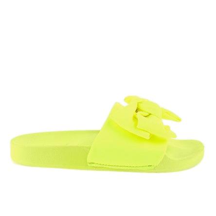 Chinelos de néon MU-6 amarelos com um laço