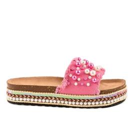 -de-rosa Flip-flops decoradas rosa 1035 pérolas