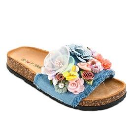 Flip-flops azuis com flores W-15