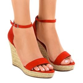 Sandálias vermelhas em alpargatas BD342 de cunha vermelho