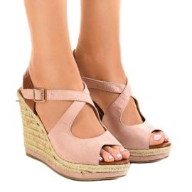 -de-rosa Sandálias cor de rosa em saltos de cunha LM-0205