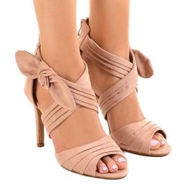 Sandálias de camurça rosa salto alto arco J-23 -de-rosa