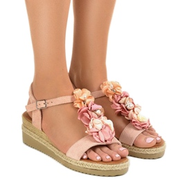 -de-rosa Sandálias de cunha rosa com flores 218-168