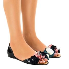 Sandálias pretas meliski com flores AE20 preto