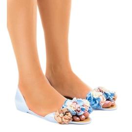 Sandálias meliski azul com flores AE20