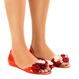 Sandálias meliski vermelho com flores AE20
