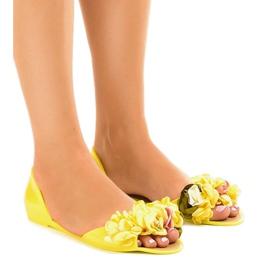 Amarelo Sandalias meliski amarelas com flores AE20