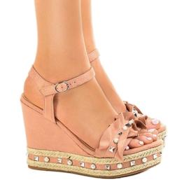 -de-rosa Sandálias cor de rosa em grânulos de cunha 2445