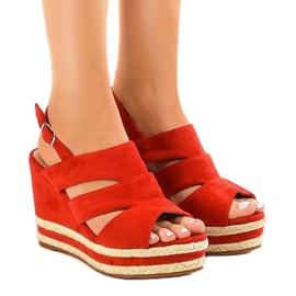 Sandálias vermelhas de sandálias de cunha FG6 vermelho