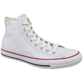 Branco Converse Chuck Taylor All Star Hi Couro Em 132169C