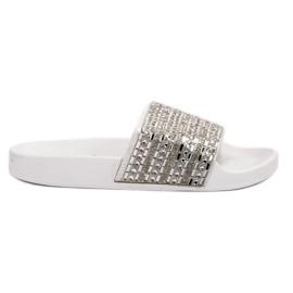 Queen Vivi Chinelos com cristais branco