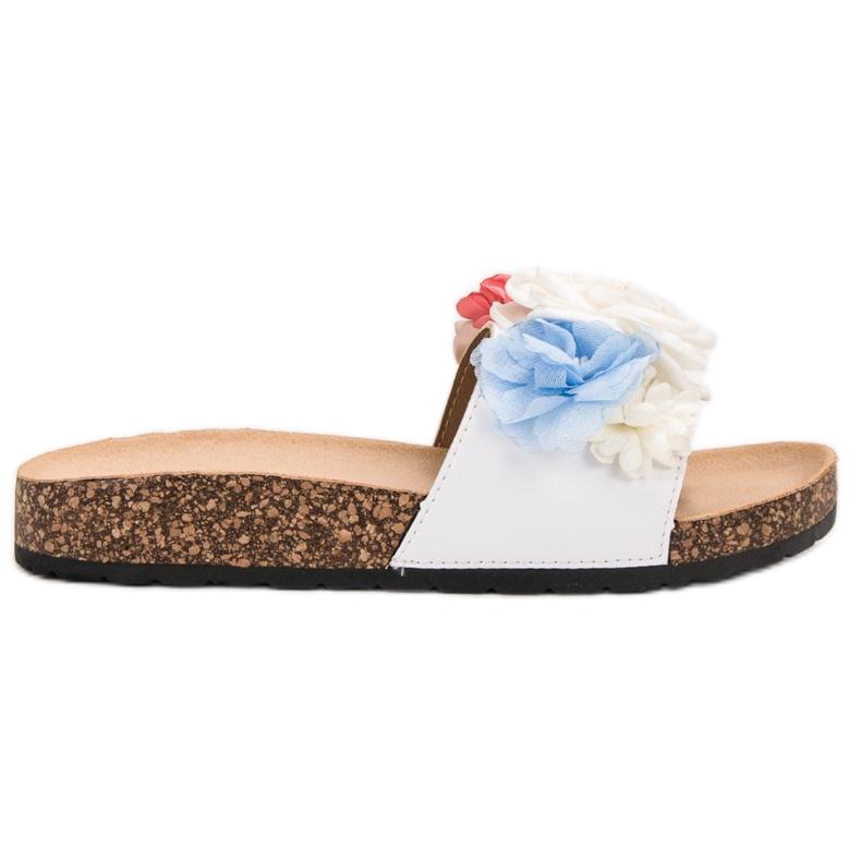 SHELOVET Chinelos brancos com flores