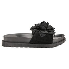 Queen Vivi Chinelos de camurça com flores preto