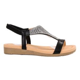Top Shoes Sandálias Pretas Elegantes preto