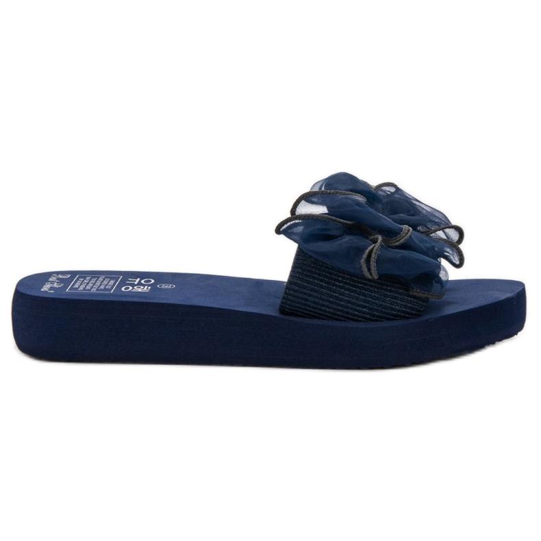Best Shoes Chinelos de espuma com laço azul