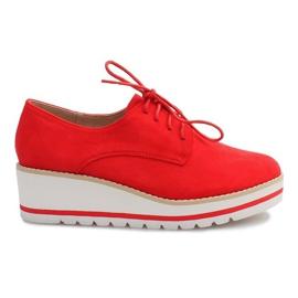 Vermelho Sapatos Na Cunha Jazzówki LM-029 Czerwony