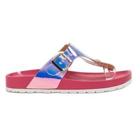 Ideal Shoes -de-rosa Flip-flops com efeito Holo