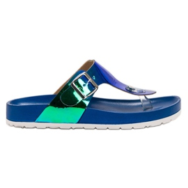 Ideal Shoes azul Flip-flops com efeito Holo