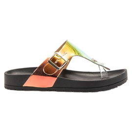 Ideal Shoes preto Flip-flops com efeito Holo