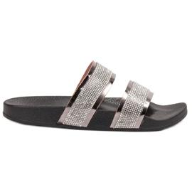 Ideal Shoes cinza Chinelos Femininos Com Zircões