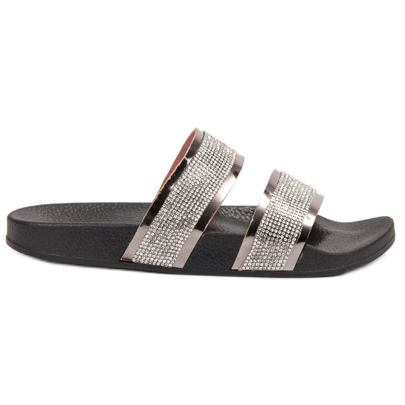 Ideal Shoes Chinelos femininos com zircônia cúbica cinza