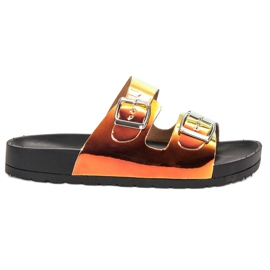 Ideal Shoes amarelo Chinelos Com Fivela Holo