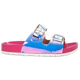Ideal Shoes Chinelos de fivela holo cinza